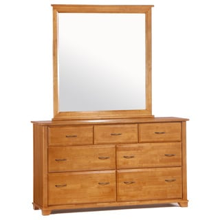 Juniper Medium Oak 7 Drawer Dresser with Mirror