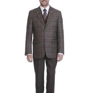Stacy Adams Men's Brown Polyester and Rayon Plaid 3-piece Suit