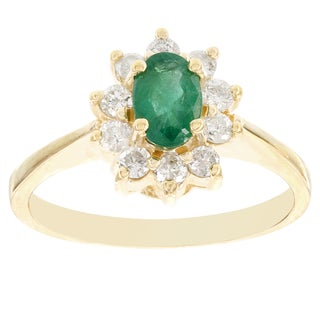 H Star 14k Yellow Gold Emerald 1/2ct and Diamond 1/2ct Cocktail Ring (H-I, I1)