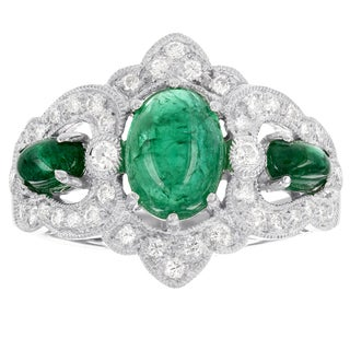 H Star Platinum Cabochon 1 1/2ct Emeralds and 1/3ct TDW Diamonds Vintage Ring