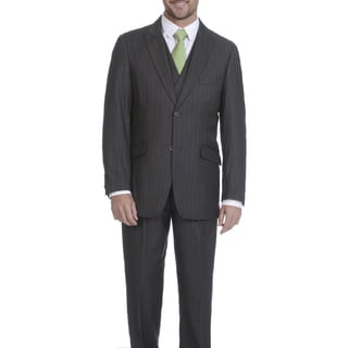 Blue Martini Men's Striped Polyester and Rayon 3-piece Suit