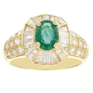 H Star 18k Yellow Gold Emerald 1ct and Diamond 1 1/4ct TW Cocktail Ring