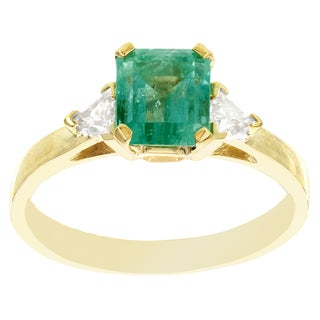 H Star 14k Yellow Gold 1/2ct Emerald and 1/3ct TDW Diamond Ring