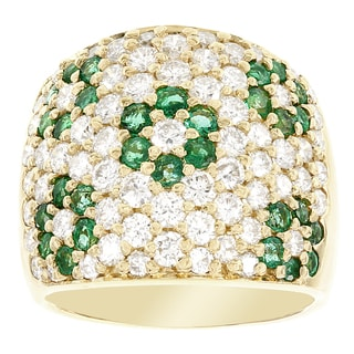 H Star 18k Yellow Gold 1/2ct Emerald and 2 1/2ct TDW Diamond Flower Wide Band RIng