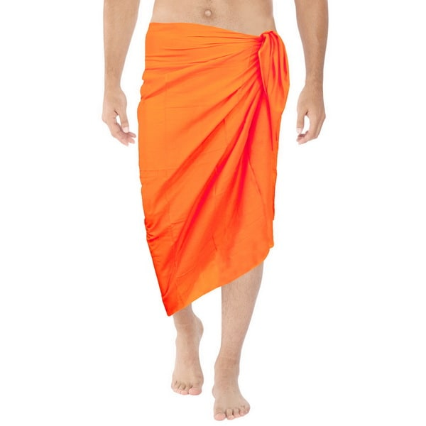 0874c7fad4520 Shop La Leela Men's Orange Pure Cotton Solid Beach Sarong Wrap ...