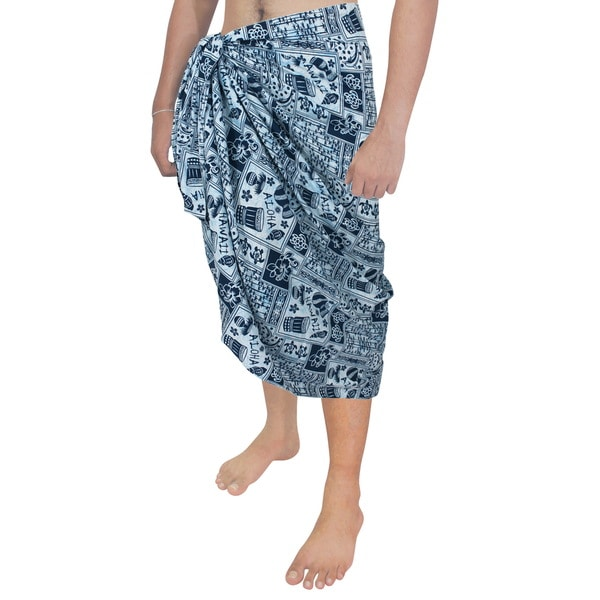 cdab408a79c02 Shop La Leela Men's Blue Cotton Dolphin Shell Sarong - Free Shipping ...