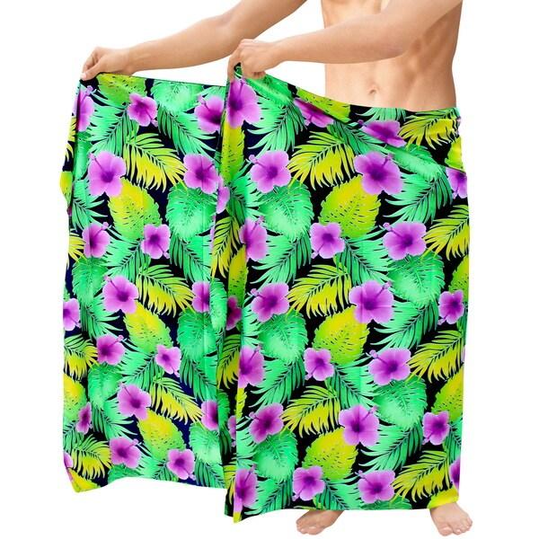 8c13321500580 ... Men's Clothing; /; Swimwear. La Leela Likre Men's Orange  Vintage-style Hibiscus Hawaii Wrap Pareo