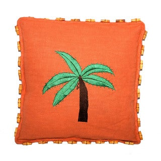 Handmade Orange Hemp Pillow with Bamboo Beads (China)