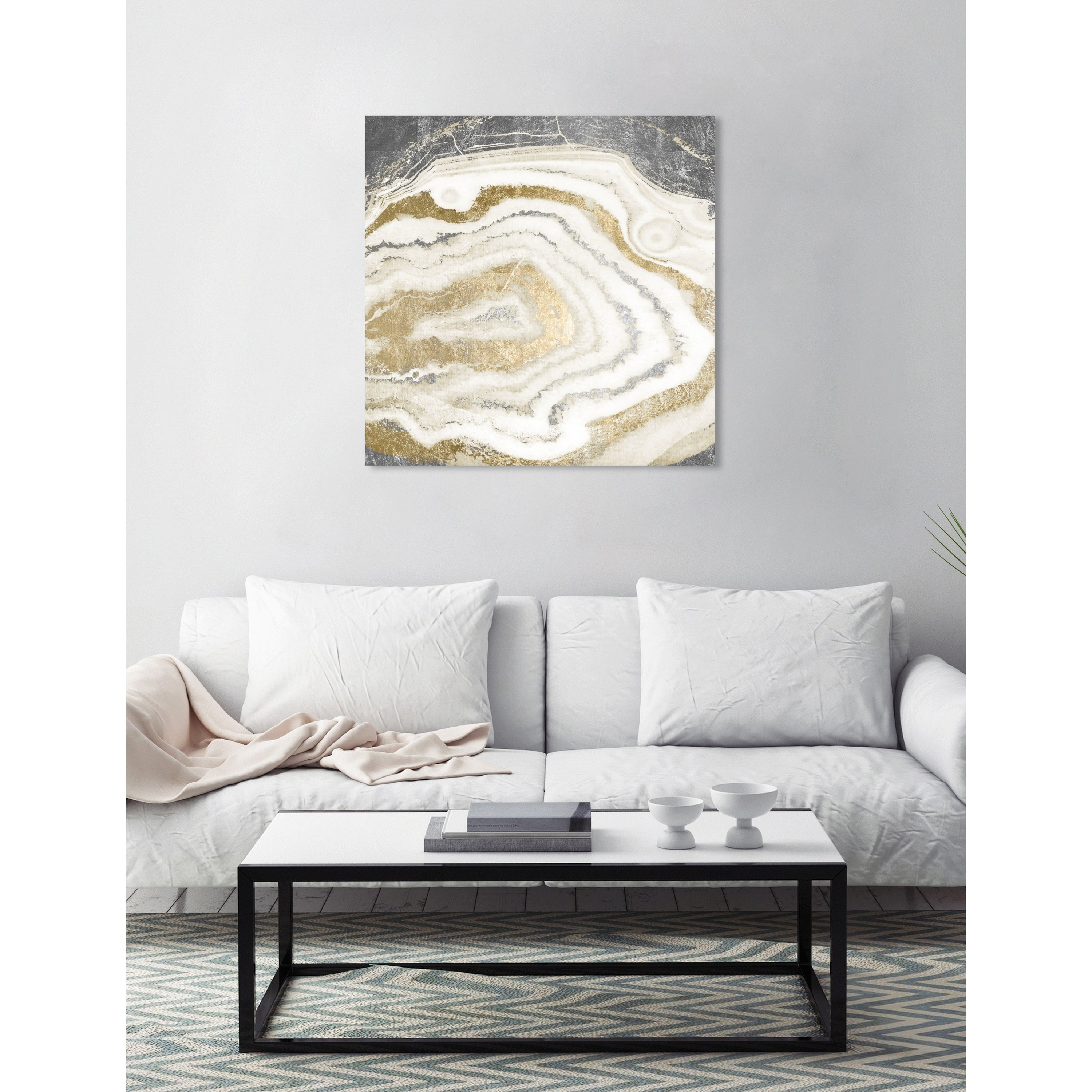 Oliver Gal Silver Gold Agate Abstract Wall Art Canvas Print White