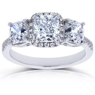 Annello by Kobelli 18k White Gold Certified 2 4/5ct TDW Diamond Cushion Halo 3 Stone Engagement Ring (I, I1)