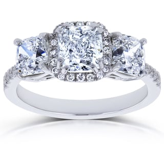 Annello by Kobelli 18k White Gold Certified 2 4/5ct TDW Diamond Cushion Halo 3 Stone Engagement Ring (I, I1) (Option: 7.25)