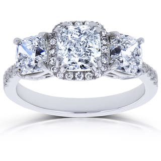 Annello by Kobelli 18k White Gold Certified 2 4/5ct TDW Diamond Cushion Halo 3 Stone Engagement Ring (I, I1) https://ak1.ostkcdn.com/images/products/13435913/P20127572.jpg?impolicy=medium