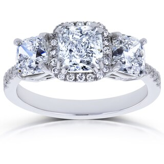 Annello by Kobelli 18k White Gold Certified 2 4/5ct TDW Diamond Cushion Halo 3 Stone Engagement Ring (I, I1)