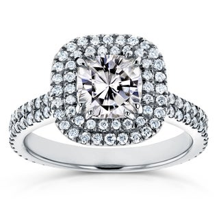 Annello by Kobelli 14k White Gold 1 1/10ct Moissanite and 3/4ct TDW Diamond Double Halo Engagement Ring