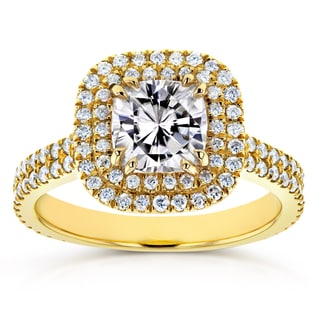 Annello by Kobelli 14k Yellow Gold 1 1/10ct Moissanite and 3/4ct TDW Diamond Double Halo Engagement Ring