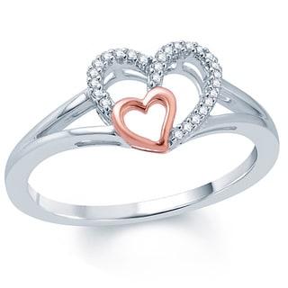 Two-tone 10k Gold 1/10ct TDW White Diamond Double Heart Ring (I1-I2 ,H-I )