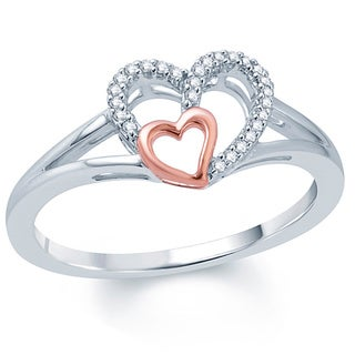 Two-tone 10k Gold 1/10ct TDW White Diamond Double Heart Ring (I1-I2 ,H-I )