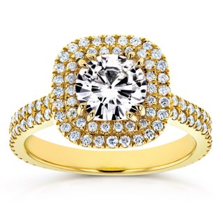 Annello by Kobelli 14k Yellow Gold 1ct Moissanite and 3/4ct TDW Diamond Double Halo Engagement Ring