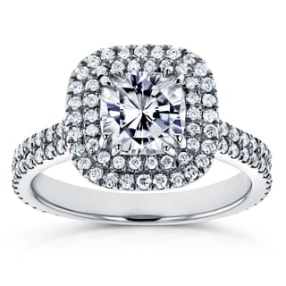 Annello By Kobelli 14k White Gold 1 1 10ct Forever One Moissanite And 3 4ct TDW Diamond Double Halo Engagement Ring