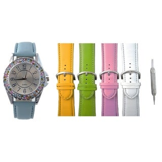 Womens Designer Inspired Interchangeable Watch Set 2 Row Multicolored Crystal Bezel 5 Bands