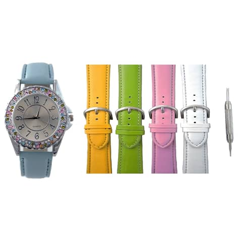 Womens Interchangeable Watch Set 2 Row Crystal Bezel 5 Bands