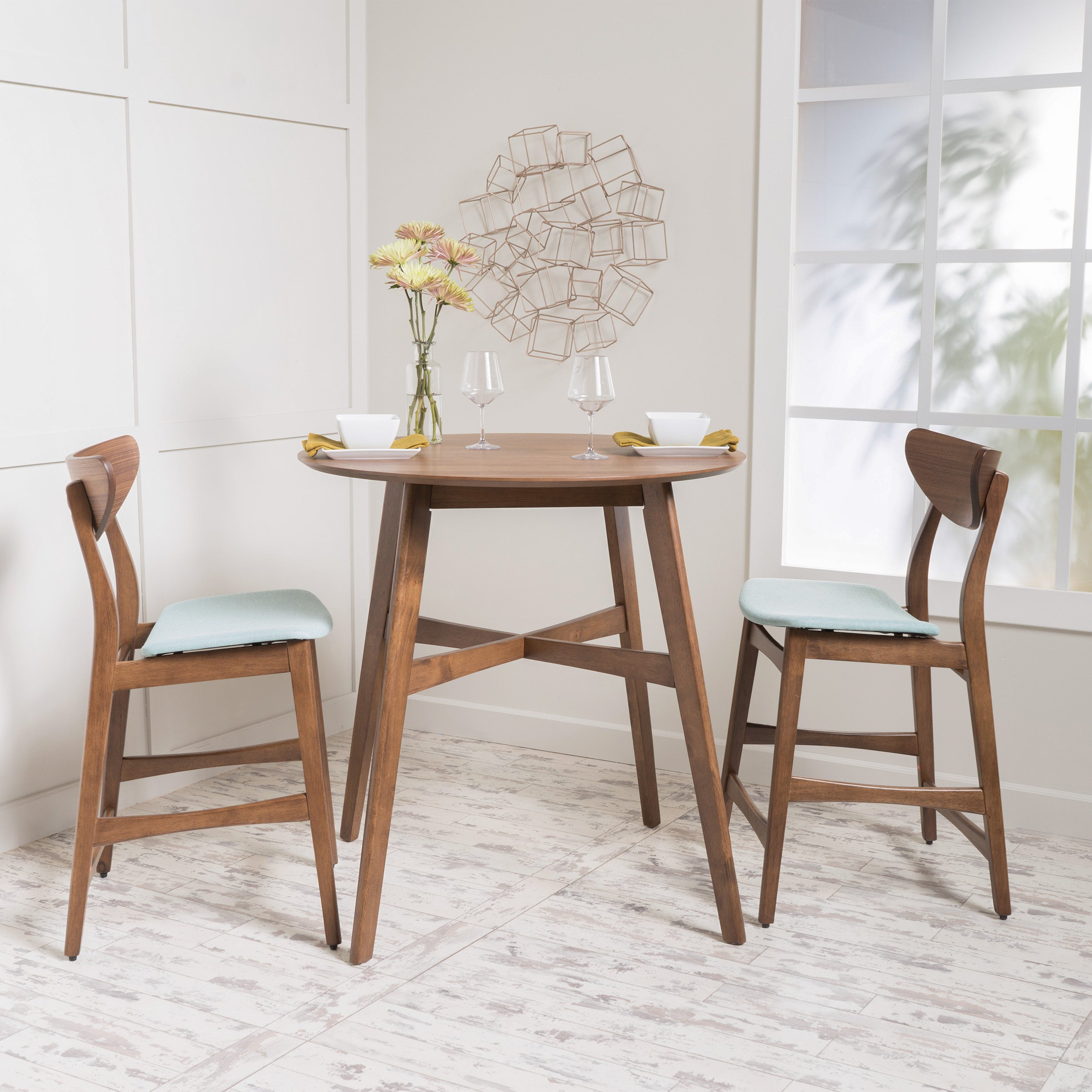 Gavin 3 Piece Wood Counter Height Round Dining Set By Christopher Knight Home