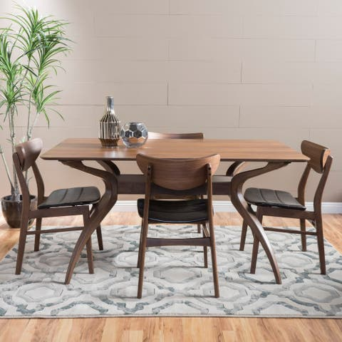 Anise 5-piece Wood Large Rectangular Dining Set with Curved Legs by Christopher Knight Home