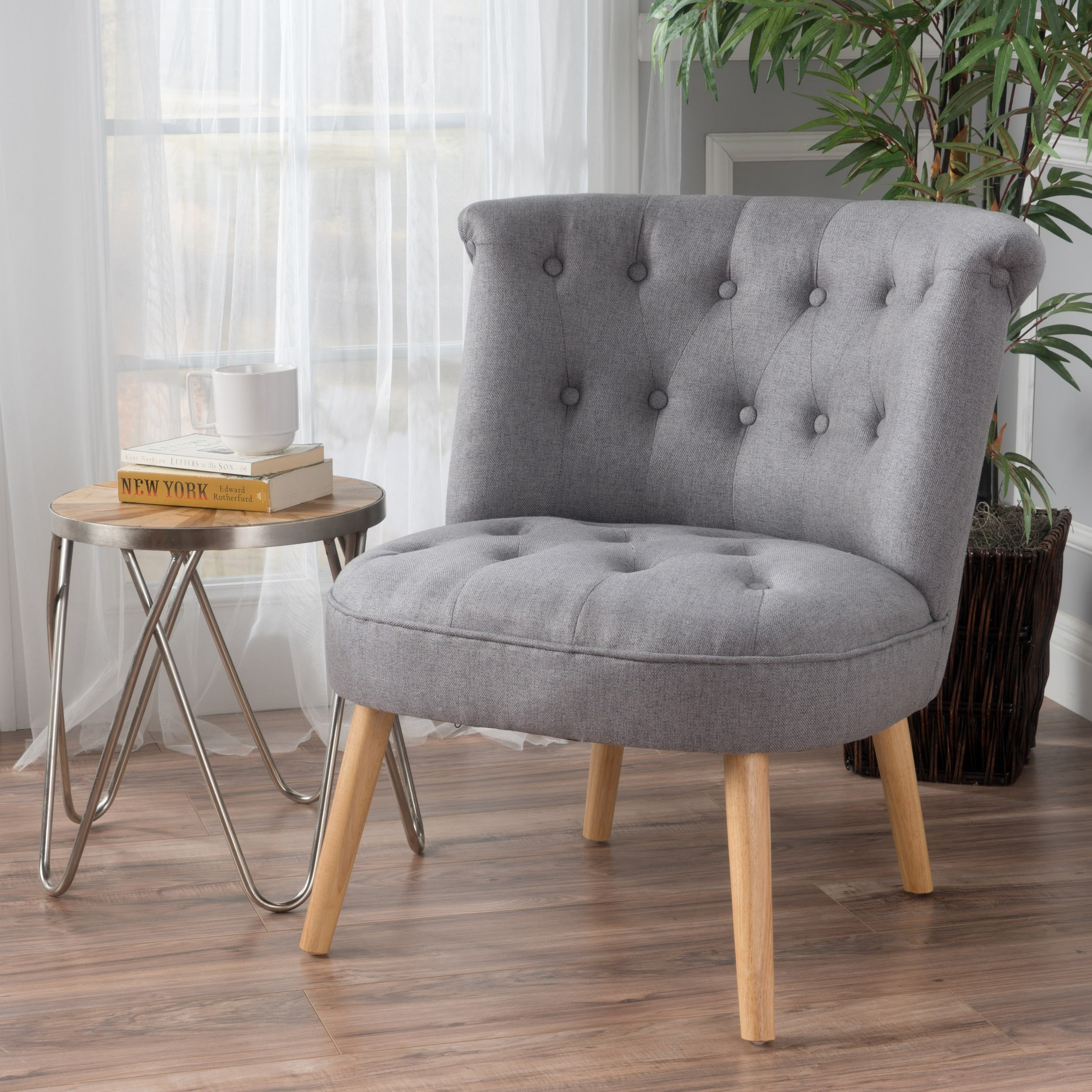 Shop Cicely Tufted Fabric Accent Chair By Christopher
