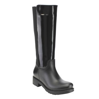 Bella Marie Women's Faux Leather Knee-High Rain Boots