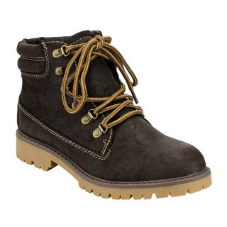 Women's Faux Leather Hiking Ankle Booties