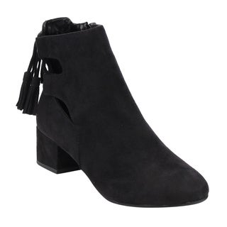 Women's Faux Suede Cut-Out Laced Block Ankle Booties
