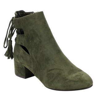 Women's Faux Suede Cut-Out Laced Block Ankle Booties (More options available)