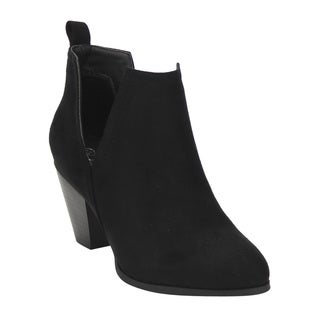 Nature Breeze FF20 Women's Black Faux Suede Slip-on Side-cut-out Chunky-heel Ankle Booties
