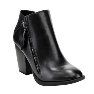 Soda Women's FF30 Side-zip High Stacked Block Heel Ankle Booties