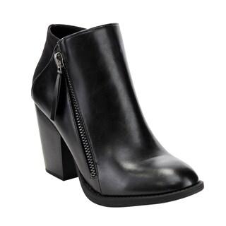 Soda Women's FF30 Side-zip High Stacked Block Heel Ankle Booties