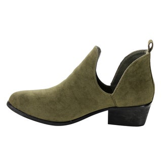 Yoki EE62 Women's Faux Suede Side-slit Pull-on Chunky Casual Ankle Booties