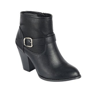 Forever GE19 Women's Black Faux-leather Buckle-strap Perforated Chunky Middle-heel Ankle Booties