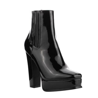 Cape Robbin FF82 Women's Faux Leather Elastic Gore Platform Chunky Heel Ankle Booties