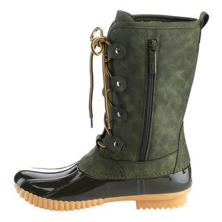 Nature Breeze FF79 Women's Black/Tan/Green Faux Leather Mid-calf Lace-up Inside Zip Duck Boots