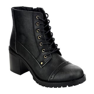 Refresh AE62 Women's Lace-up Inner Zipper Chunky Heel Military Combat Boots