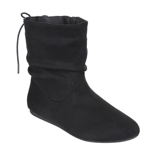 Refresh AE59 Women's Black Faux-suede Slouchy Lace-up Full-length-zipper Flat Ankle Boots