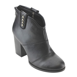 Women's Studded Back-Zip Stacked-Block Ankle Booties