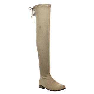 Women's Beige Faux Suede Thigh-High Drawstring Dress Boots