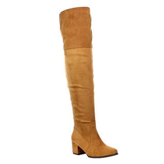 Women's Tan Faux Suede Foldable Thigh-High Boots