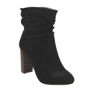Liliana GF50 Women's Stacked High Heel Pull-on Slouch Faux Suede Ankle Booties