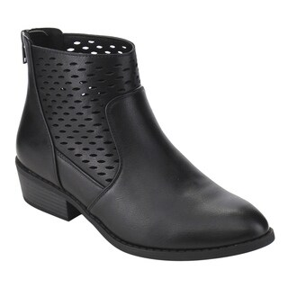 Wild Diva Lounge Women's FF62 Faux-leather Cut-out Back-zip Low Block Ankle Booties