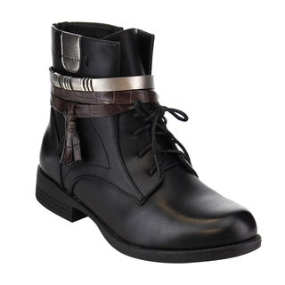 Via Pinky Womens' EF14 Faux-Leather Strappy Tassel Lace-Up Side-Zip Low-Stacked Ankle Bootie
