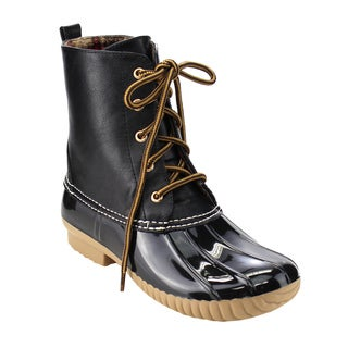 Wild Diva Lounge Women's FF56 Faux-leather/ PVC Lace-up Combat-style Duck Rain Boots