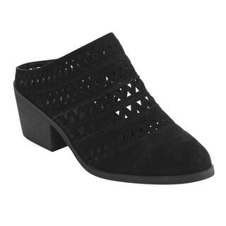 Wild Diva Lounge FF52 Women's Faux Suede Slide-on Cut-out Block Heel Mule Sandals