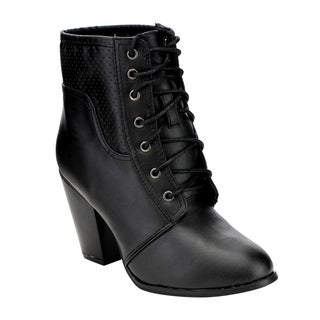 Yoki EE63 Women's Faux Leather Perforated Lace-up Stacked Heel Sassy Ankle Booties